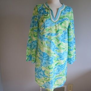Lilly Pulitzer Green Blue Gator Alley Cotton Dress